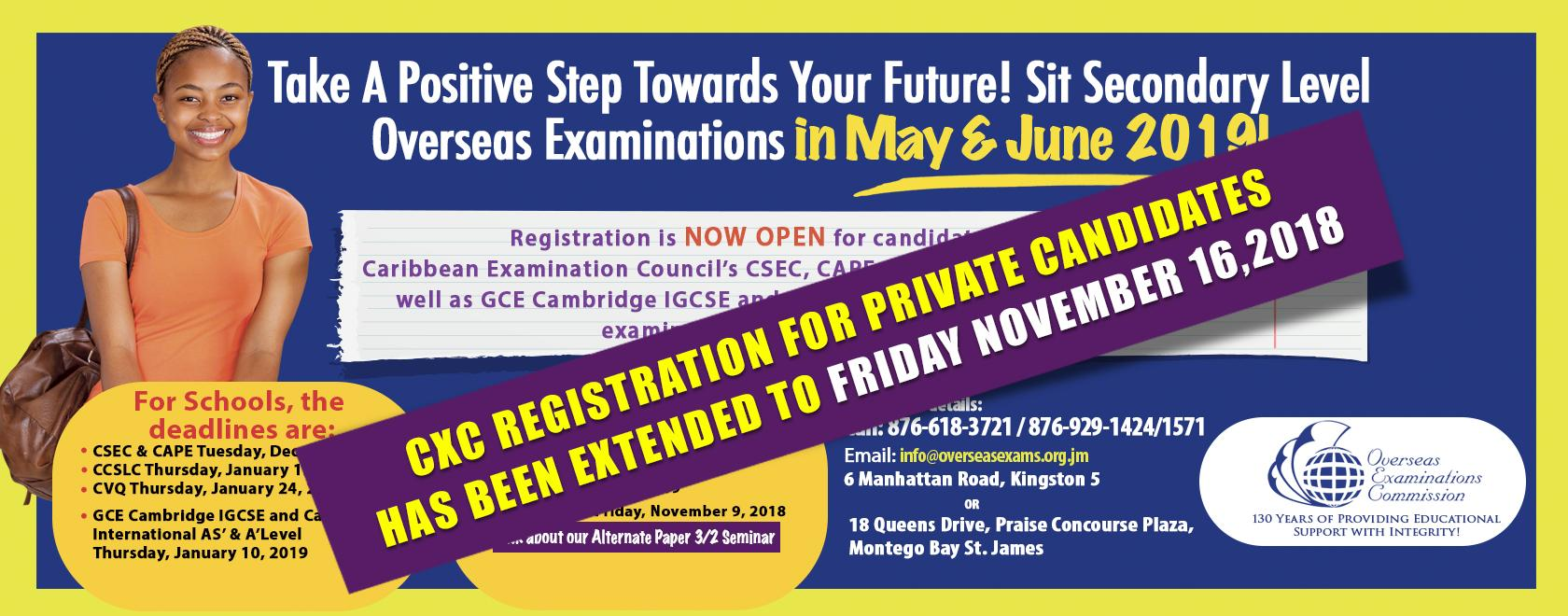 CXC May/June 2019 Examinations Private Candidates Registration Extension